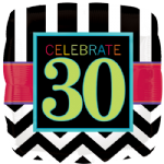 "18"" Chevron Square 30th Birthday Foil Balloon"